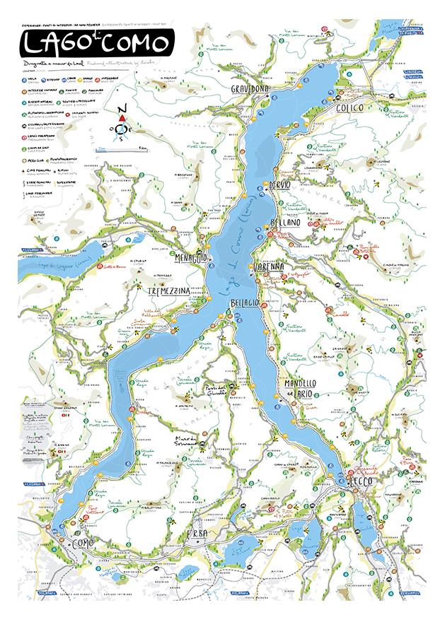 La cartina illustrata del Lago di Como